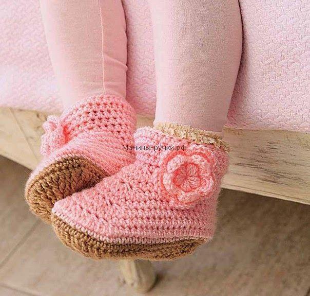 Botas ganchillo para nena con esquemas | Zapatos, zapatillas ...