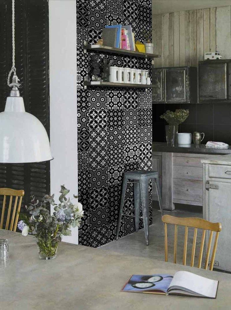 Porcelain Stoneware Wall Floor Tiles Bon Ton Black Bon Ton Collection By Unica By Target Studio Vintage Kitchen Decor Kitchen Design Decor Copper Kitchen Decor