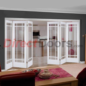 Nuvu Manhattan White Folding 6 Door Set with Bevelled Clear glass ...