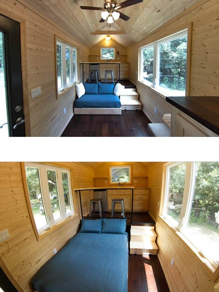 tiny home with convertible couch bed under the kitchen
