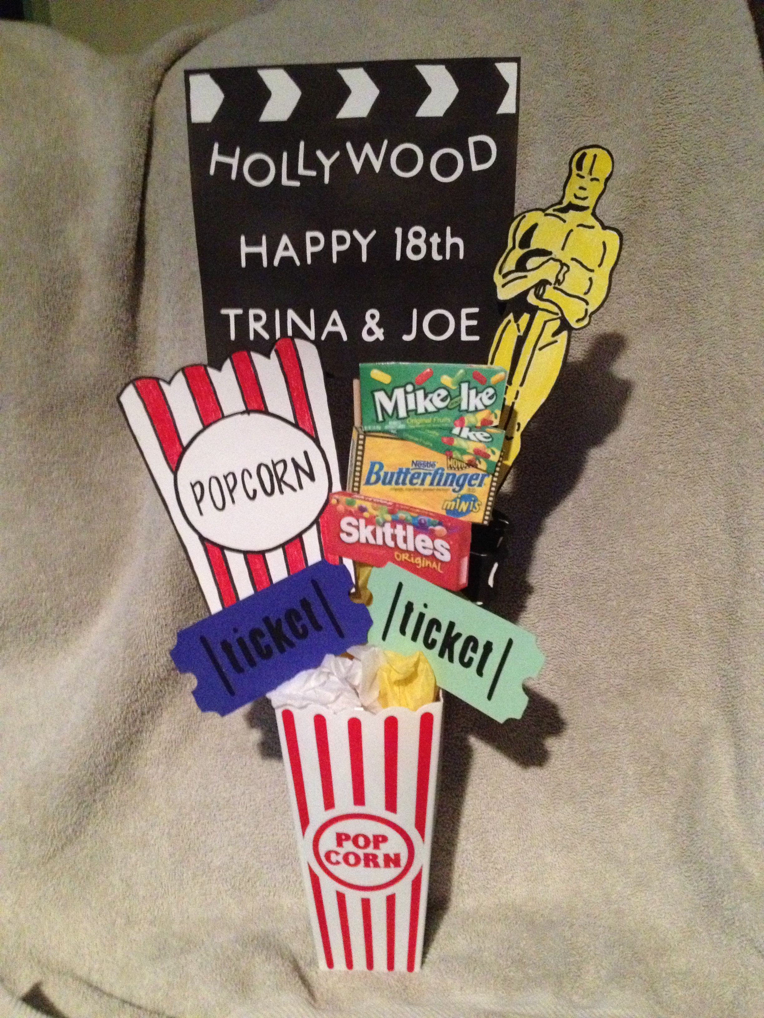 Movie night table decor centerpiece Bought the popcorn