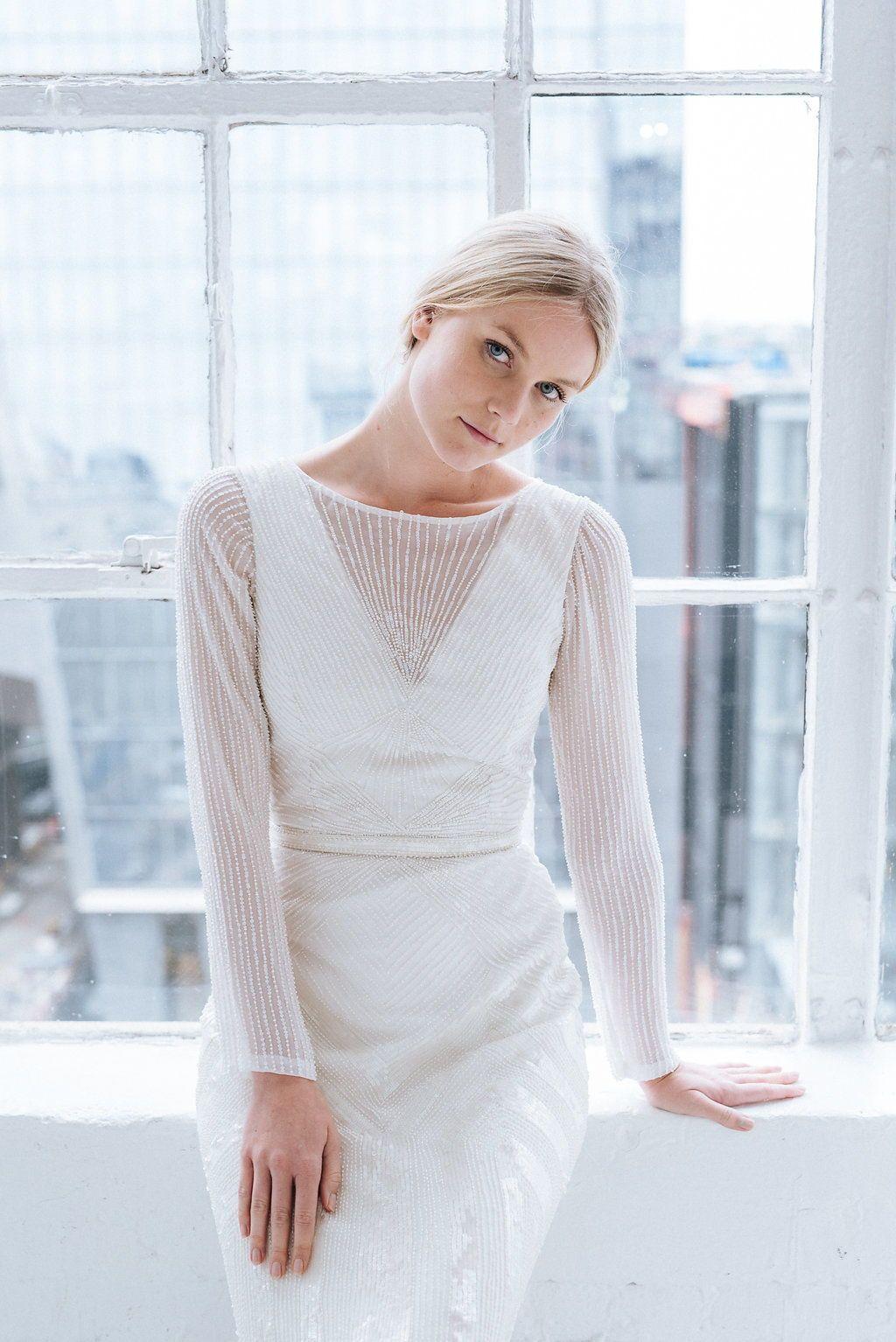 Unique long sleeve beaded wedding dress see more karen willis