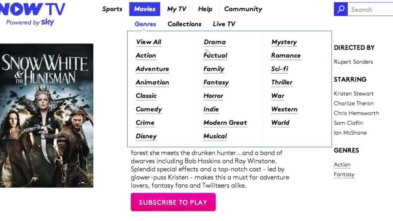How to sign up for a NOW TV Movies Month Pass