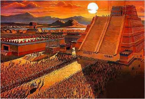 De Azteken gaven offers aan hun oppergod en die offers waren slaven harten of andere lichaamsdelen en de Azteken dachten dat ze daardoor minder snel dood gingen en dat ze een beter leven kregen