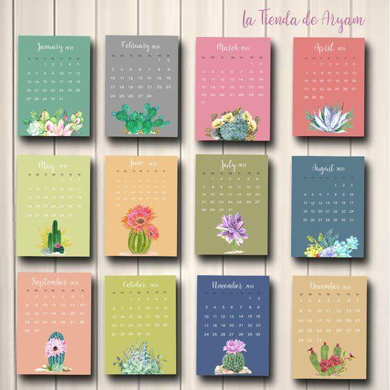 wall calendar 2019 calendar printable monthly cactus calendar