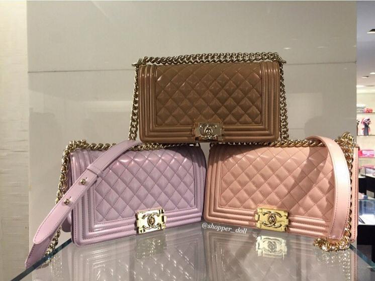 c4fa5838b8bd44 Chanel Dark Beige/Light Purple/Light Pink Iridescent Calfskin Boy Bags