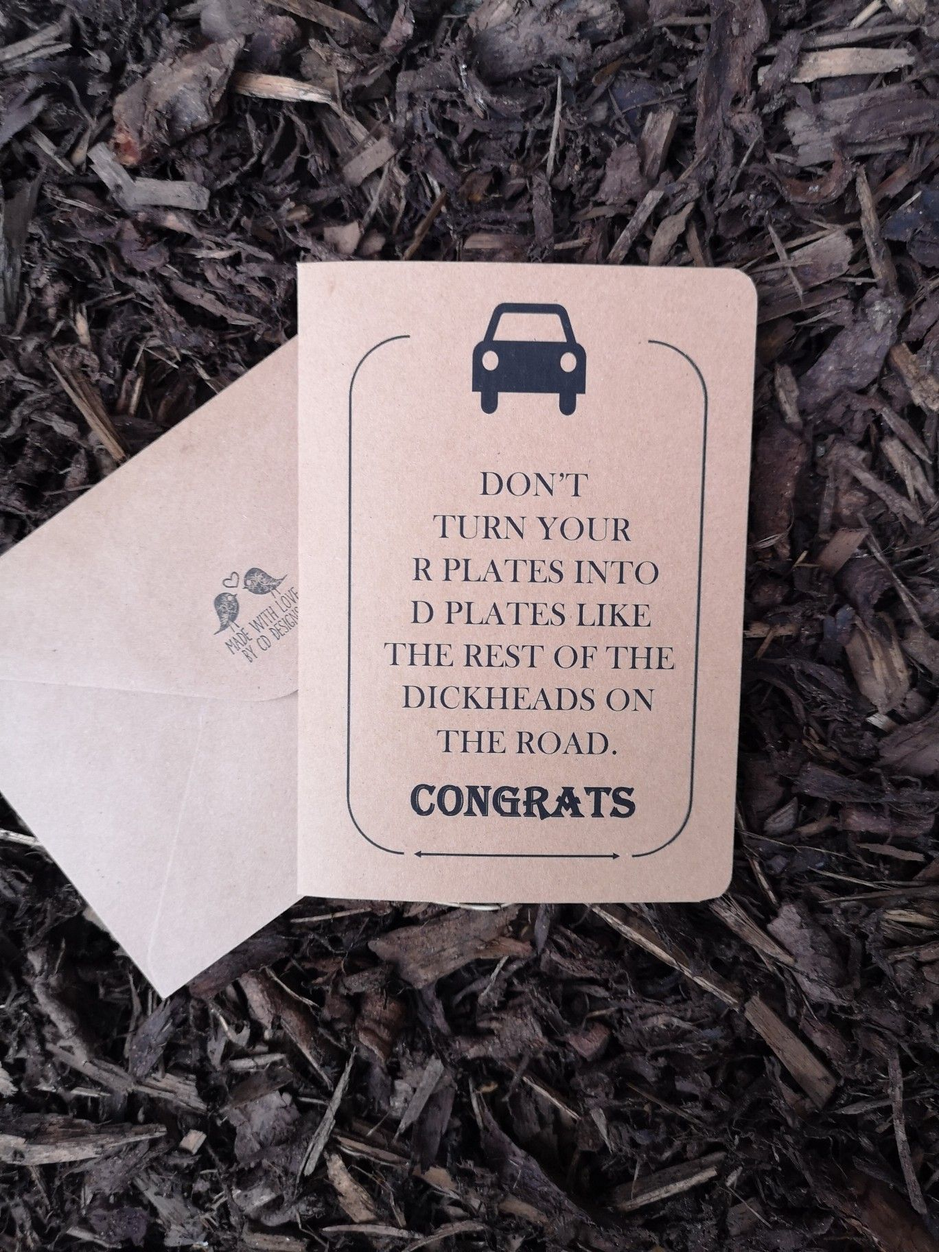 A wee cheeky card for passing the driving test https