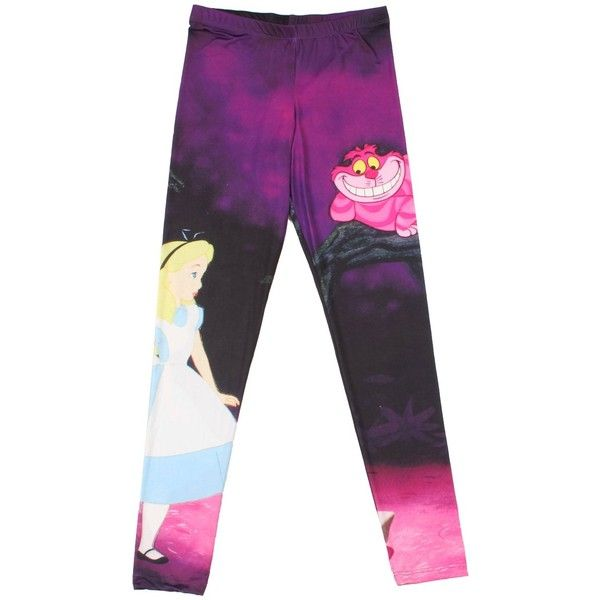 Hot Topic Disney Alice In Wonderland Alice And Cheshire Cat Leggings found on Polyvore