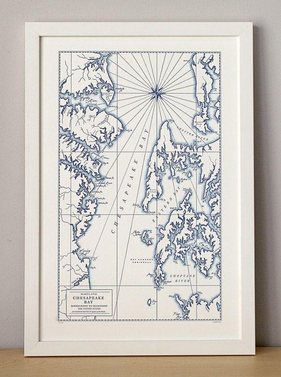 Chesapeake Bay Maryland Letterpress Map Art by QuailLanePress