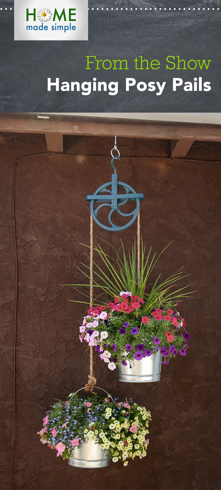 Decorative Flower Paintings: Make This Decorative Plant Hanger Out Of A Vintage Pulley