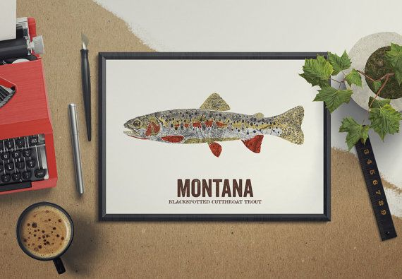 Montana State Fish Nature art Outdoor art Vintage Map art Art print Wall decor Fish Art Gift For Dad Blackspotted Cutthroat Trout