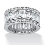 Plus Size 9.34 TCW Round and Emerald-Cut Cubic Zirconia Platinum-Plated Eternity Band Ring image