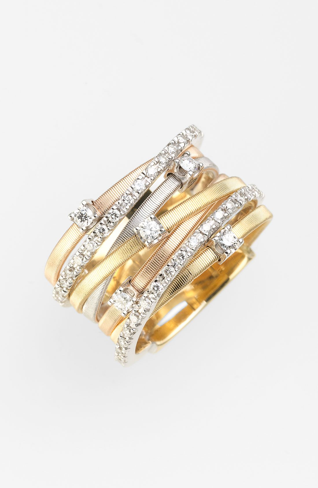 Marco Bicego Goa Stacked Seven-Row Crossover Ring with Diamonds adbKX