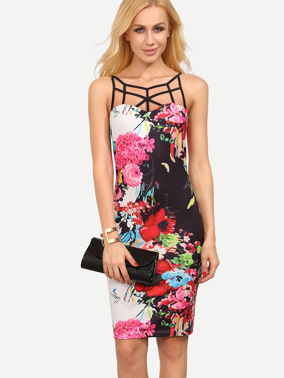 Pink cut out dress  Shop Floral Print Caged Neck Bodycon Dress online SheIn offers