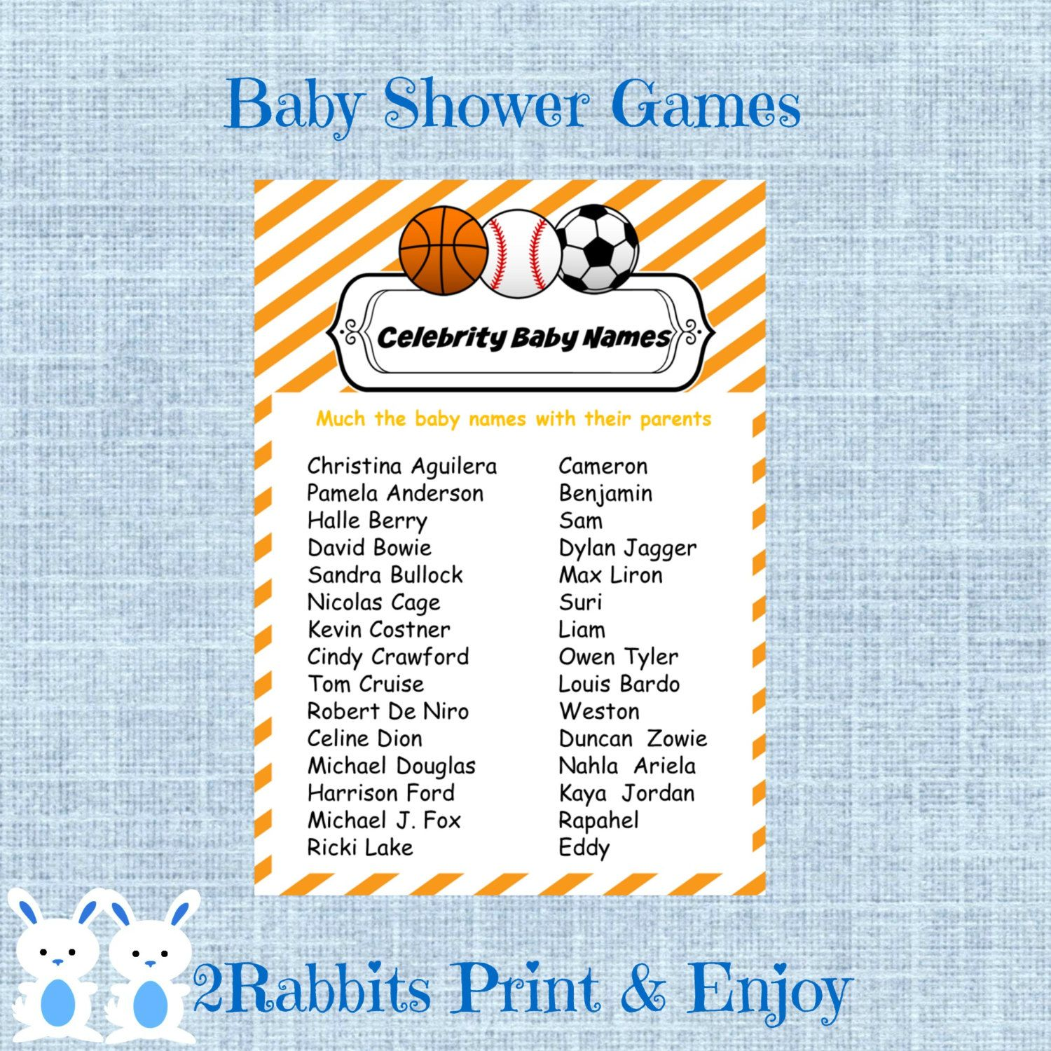 Sports Baby Shower Celebrity Baby Names Game Soccer Basketball And Baseball Baby Shower Celebrity Name Baby Name Game Sports Baby Shower Celebrity Baby Names