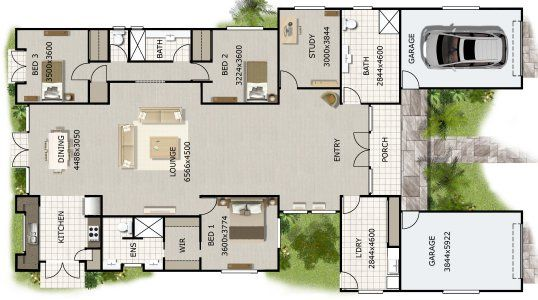 3 Bed + Study or 4 Bed House Plan Architectures Pinterest