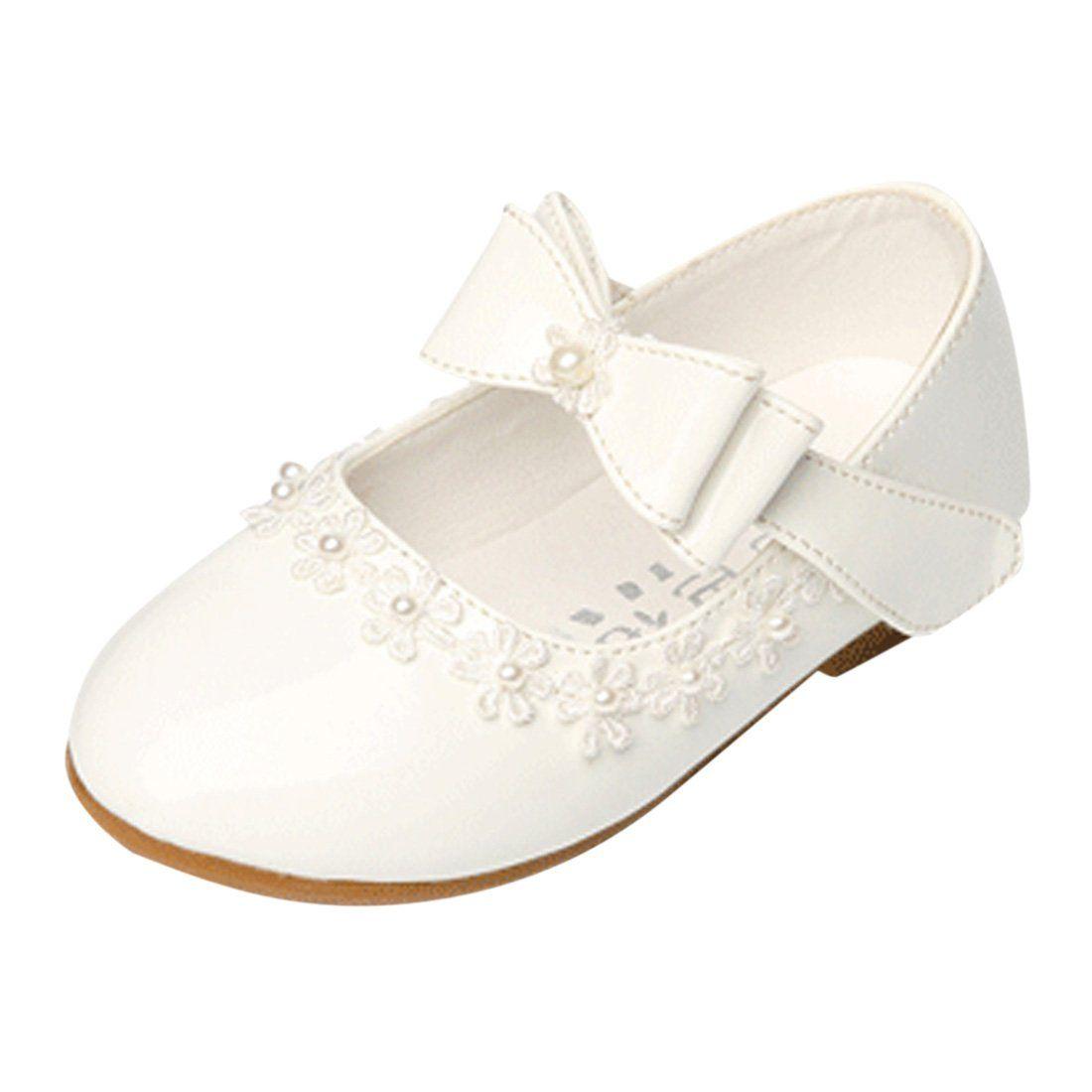 5733726c1 Lopetve Niñas Bowknot Plana Princesa del Bautizo Nupcial Fiesta  Antideslizante Zapatos Escolares Mary Jane Tamaño Blanco