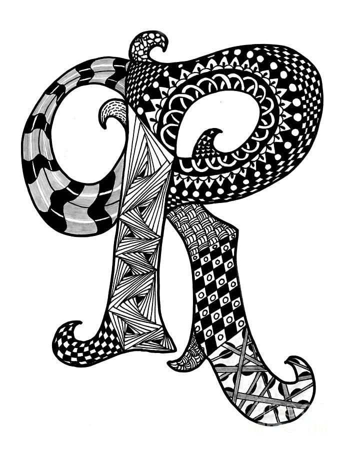 Zentangle Letter R Monogram Drawing