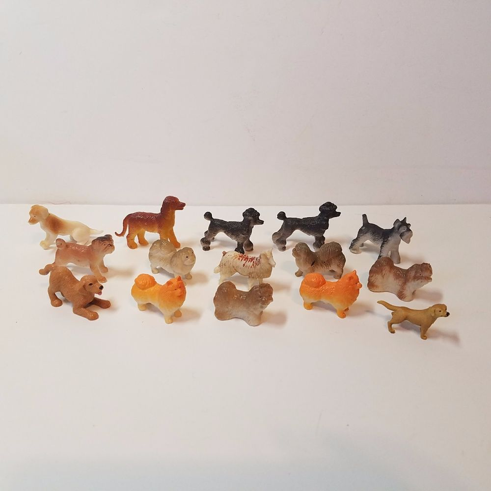 15 Vintage Dog Collection Miniature Rubber Plastic Toy Animal