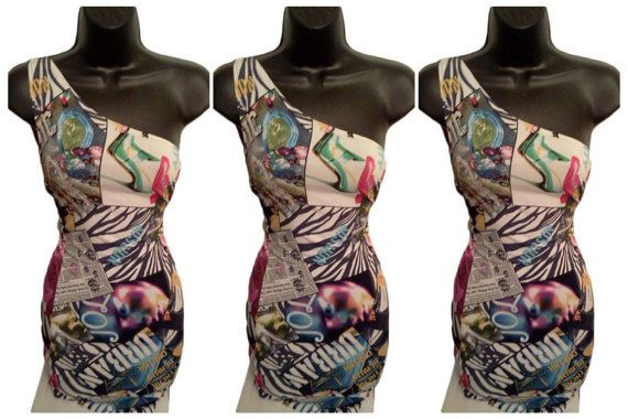 One Shoulder Club Wear Dress Multi-Color Spandex Material Custom Made