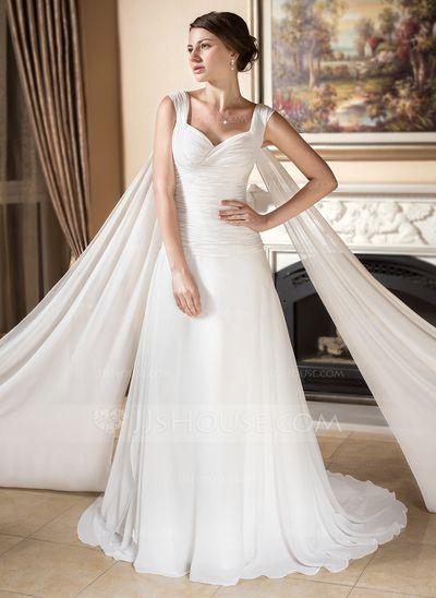 corte a/princesa escote corazón cola watteau chifón vestido de novia