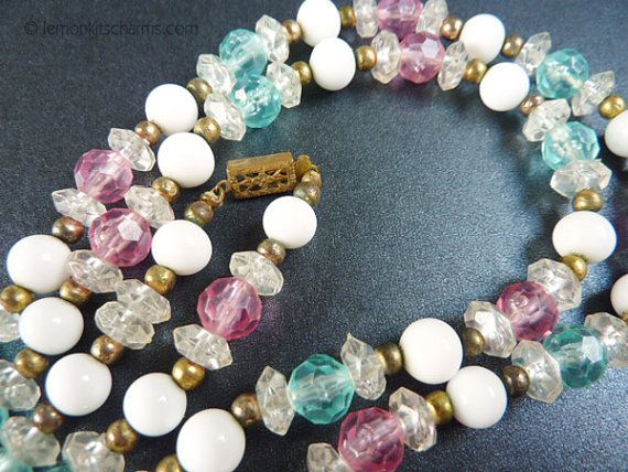 Vintage Pink Blue White Long Beaded Necklace by LemonKitscharms