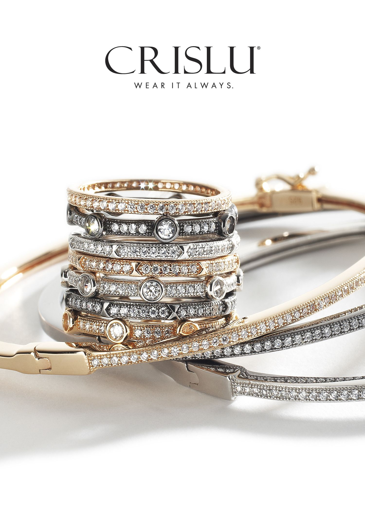 342130291 Crislu Stackabe CZ Rings and Bangles in Rose Gold and Silver ...