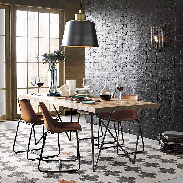 Industrial Modern Dining Room Table: Roadhouse Leather Chair