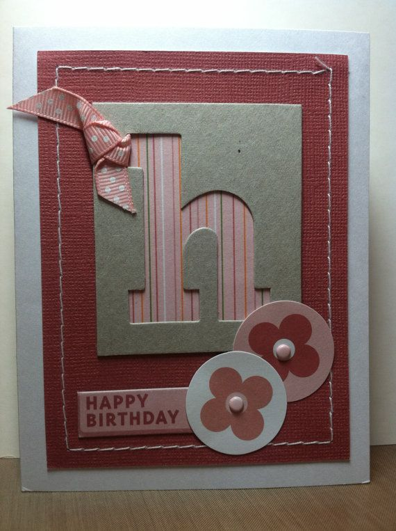 Flower Birthday Card by InkStampPaper on Etsy, $3.50