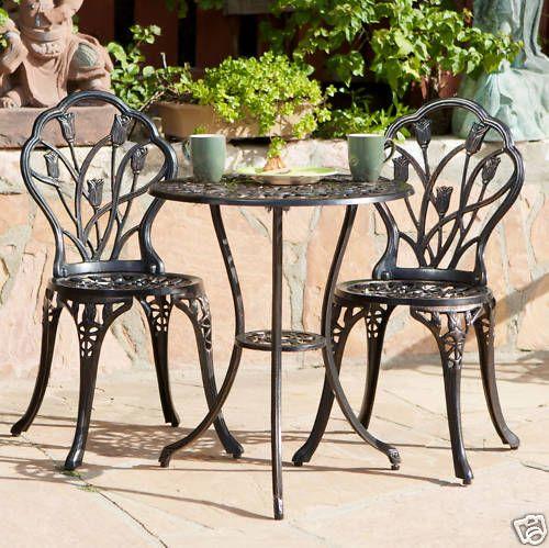 Outdoor Patio Furniture Tulip Design Cast Aluminum Bistro Set in ...