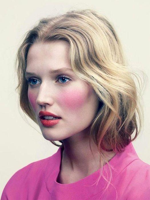 Strong pink blush. #neon #pink #blush #makeup   School Girl Mood ...