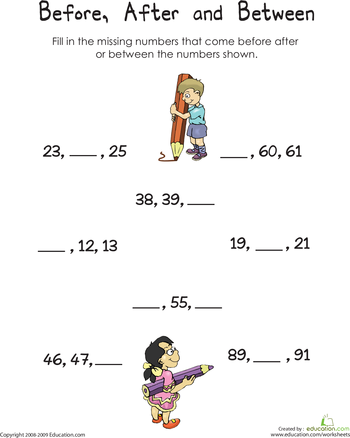 Before After And Between Numbers Worksheet Education Com 1st Grade Math Worksheets First Grade Math Worksheets 1st Grade Math