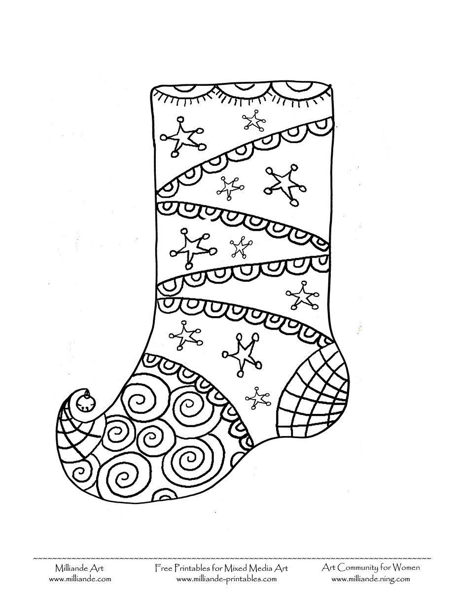 Christmas stocking | Coloring pages | Pinterest | Stockings, Free ...