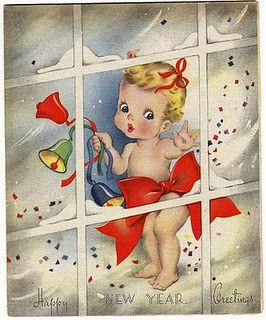 sweet little face on this vintage new year card