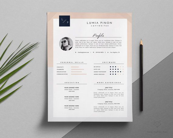 Stylish Resume With Photo Modern Resume Design For Ms Word Etsy In 2020 Cover Letter For Resume Resume Template Resume Design Template