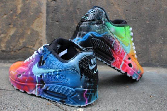 official photos bbda8 6343f Nike Air Max 90 Blue Galaxy Style Painted by DacCrewAirbrush   Clothes    Pinterest   Galaxy style, Air max 90 and Air max