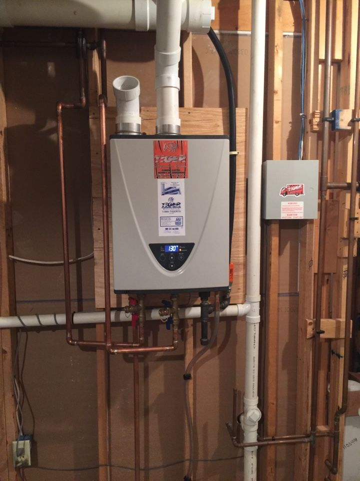 A Brand New Tiger Signature Series Tankless Water Heater Being