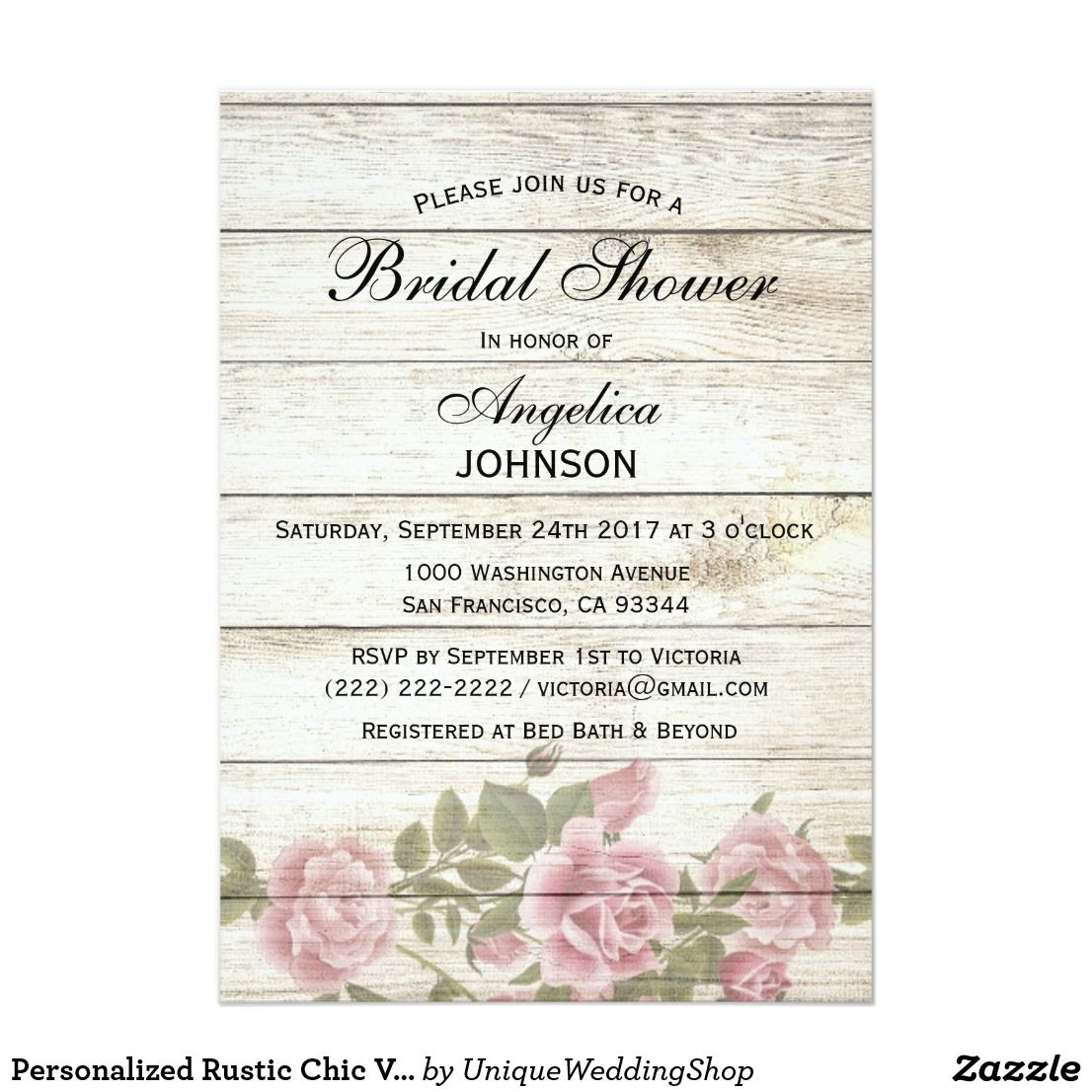 Personalized Rustic Chic Vintage Bridal Shower Invitation ...