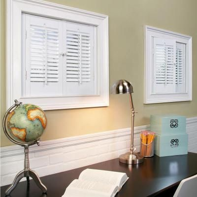 Home Basics White 1 1 4 In Traditional Faux Wood Interior Shutter 23 To 25 In W X 28 In L Qsta2328 The Home Depot Interior Shutters Interior Windows Wooden Shutters Interior
