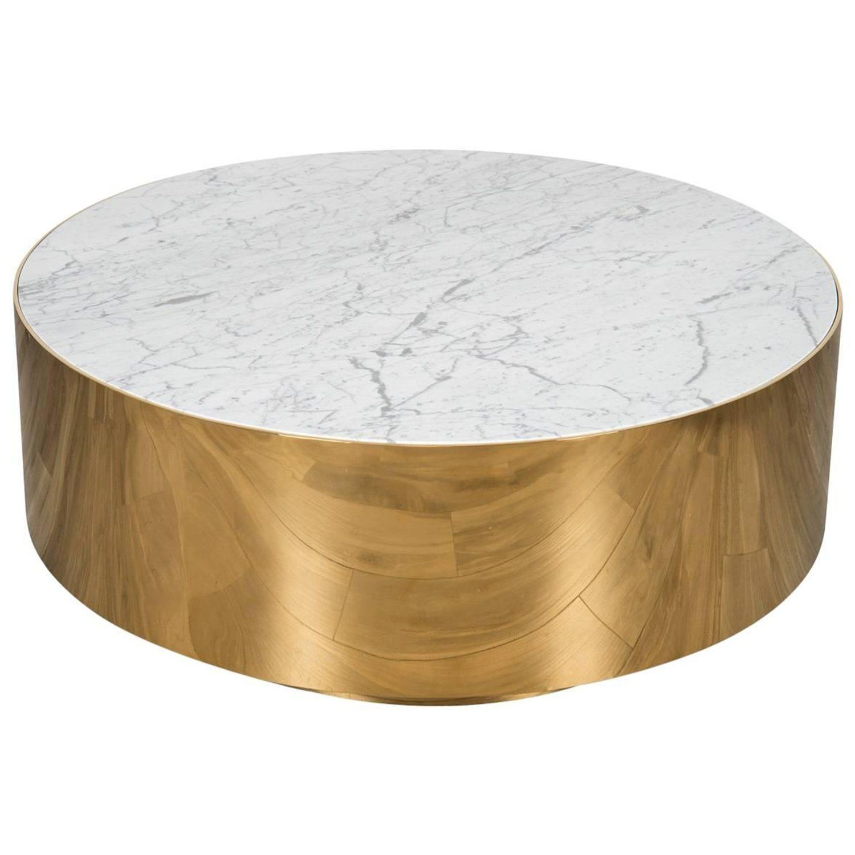 Mid Century Modern Smooth Finish Round Shiny Brass Carrara Stone Coffee Table Stone Coffee Table Coffee Table Brass Coffee Table [ 1500 x 1500 Pixel ]