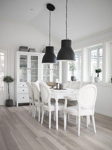 Ikea Hektar Large Pendant Lamps And Hemnes Glass Door Cabinets