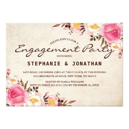 Rustic Country Floral engagement party card Engagement - engagement card template