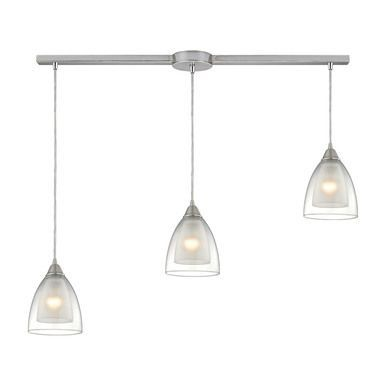 ELK Lighting Layers 3 Light Pendant Satin Nickel Finish Clear Glass