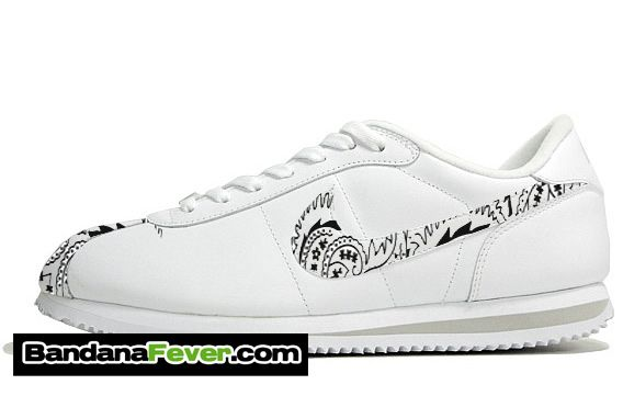 buy online 23499 3dccd Bandana Fever - Bandana Fever Custom Graphic Nike Cortez Leather White Zen  Grey White Bandana Toes