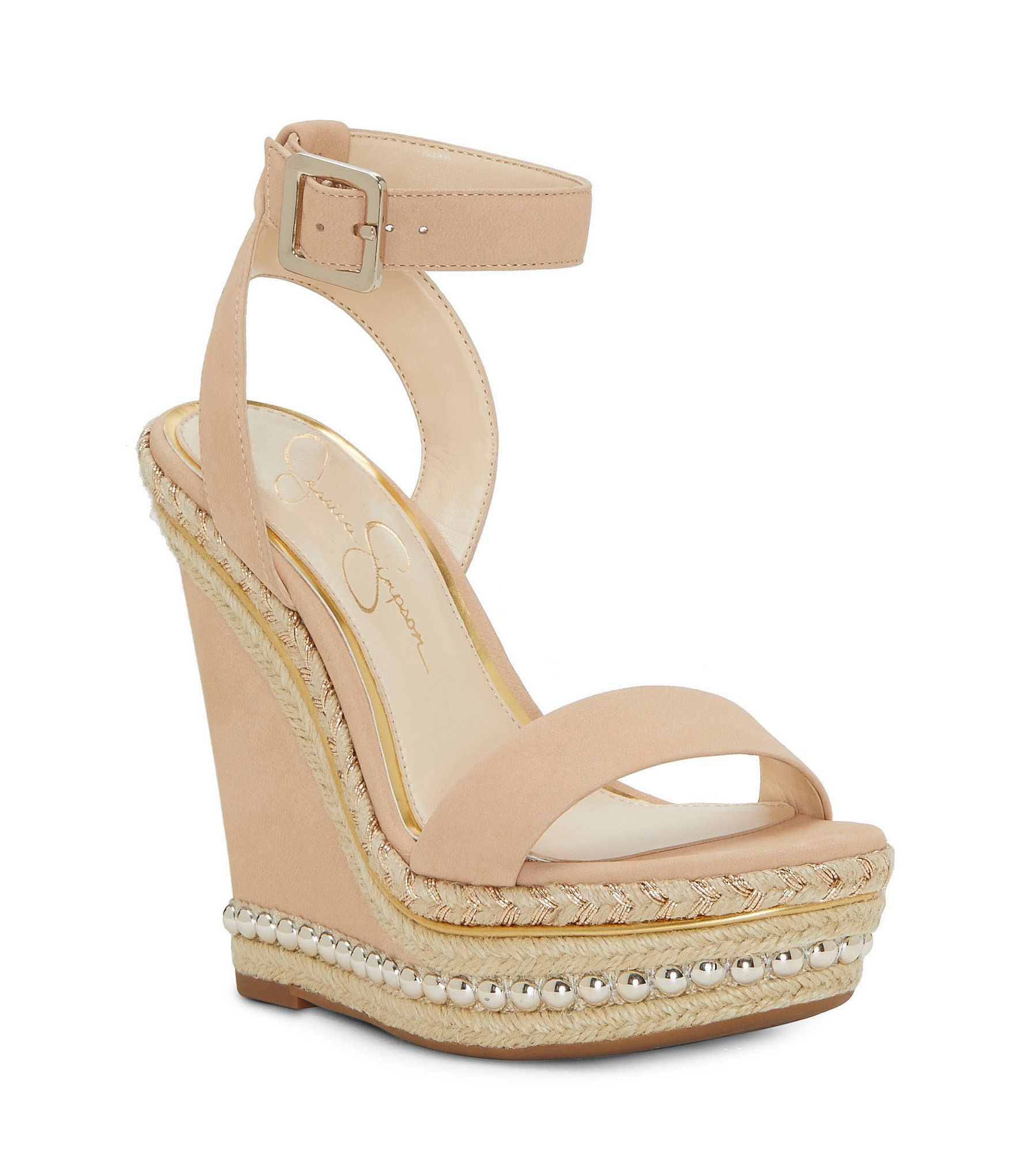 8e359df4a0b0 Jessica Simpson Avey Stud and Braided Detail Platform Wedge Sandals   Dillards