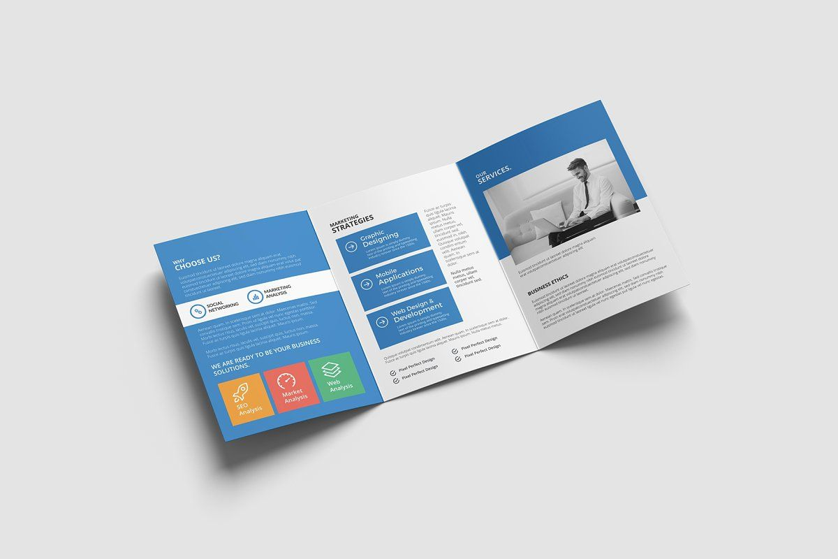 Ad A5 Trifold Brochure by Omega Labs on creativemarket