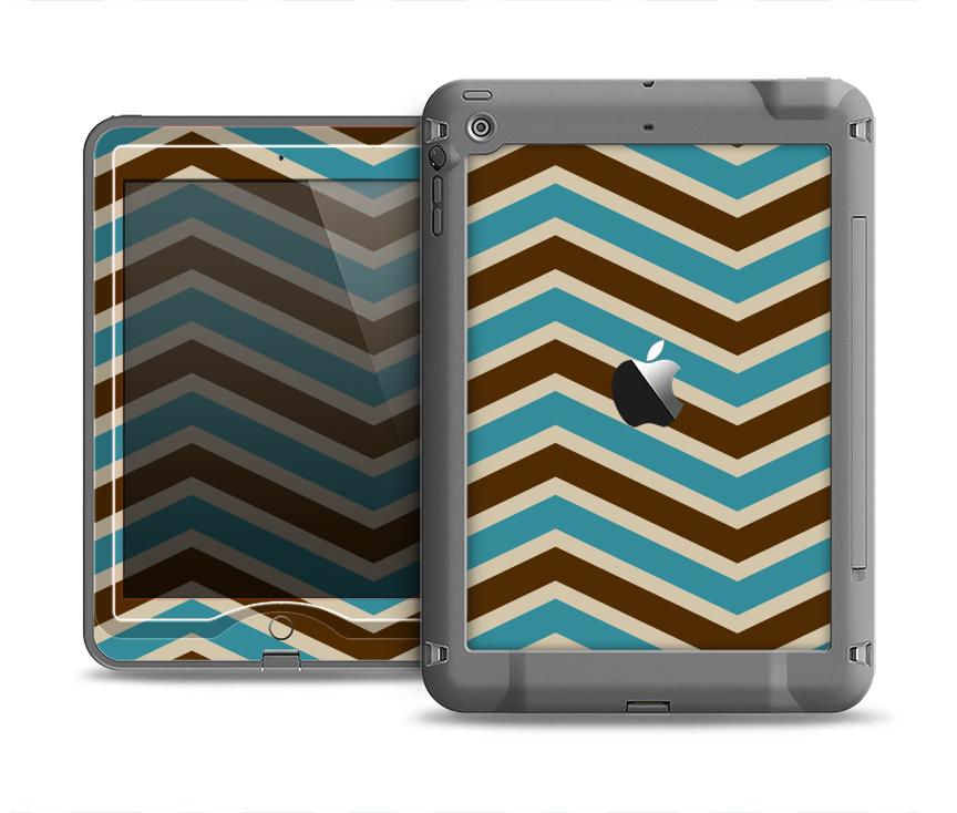 The Vintage Wide Chevron Pattern Brown & Blue Apple iPad Air LifeProof Nuud Case Skin Set