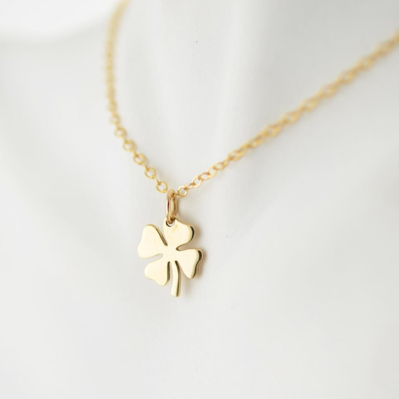 Womens Good Luck Charm Necklace 14k Gold Necklace Four Leaf Clover Charm Four Leaf Clover Necklace Clover Jewelry Gold Necklace