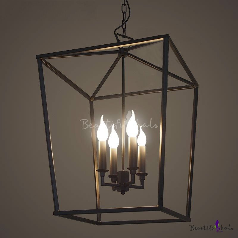 Matte Black 4 Light Square Open Cage Led Pendant Black Cage