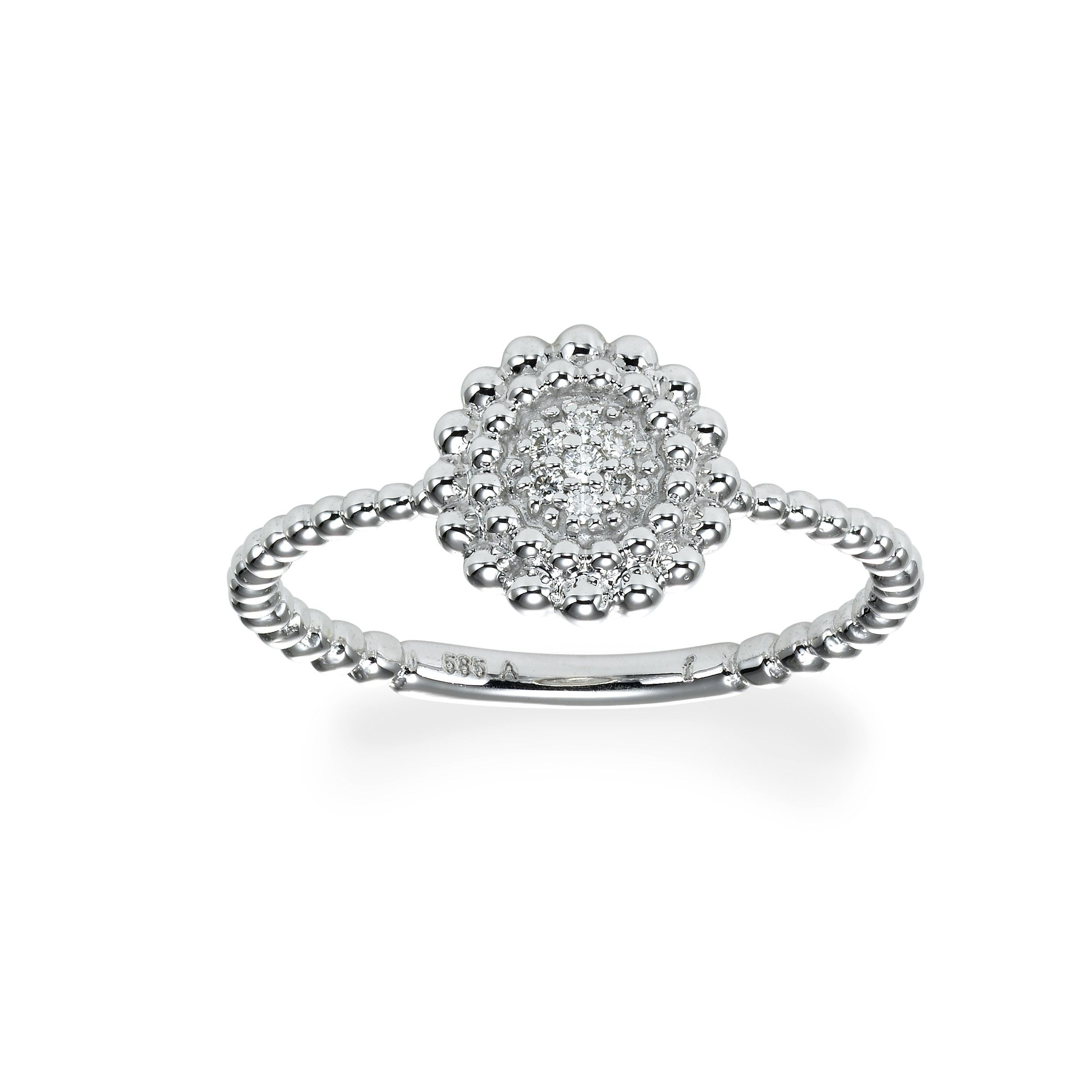 Round pave diamond cluster ring k white gold jewelry